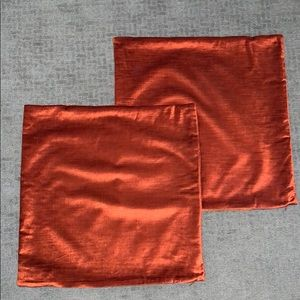 West Elm Burnt Orange Luster Velvet Pillow Covers
